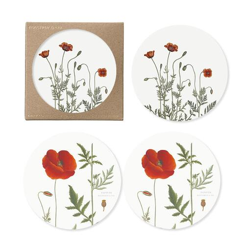 COASTERS - poppy - 4 Pack