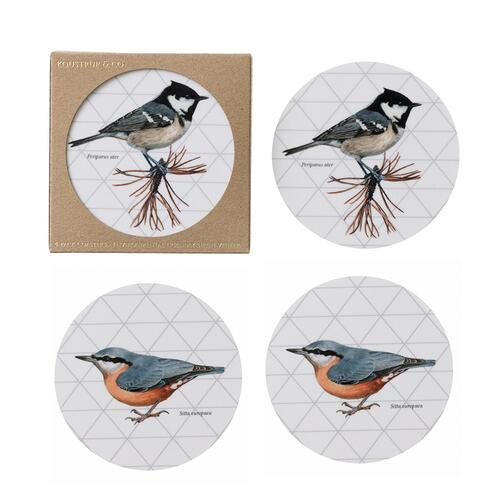 COASTERS - Coal tit / Eurasian nuthatch - 4 pack