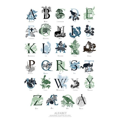 ART PRINT B2 - 50x70 ABC green/blue (danish)