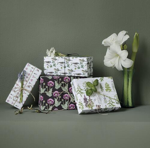 GIFTWRAPPING PAPER - Flowers and herbs - recycle 4 sheets