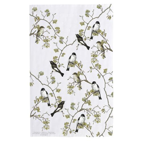 ORGANIC TEA TOWEL - Pied Flycatcher