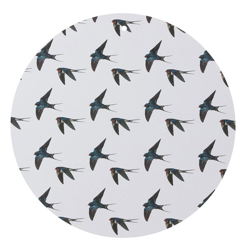 CUTTING BOARD - Birds grey / swallows Ø35