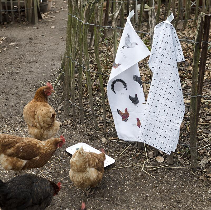 ORGANIC TEA TOWEL - Chicken pattern