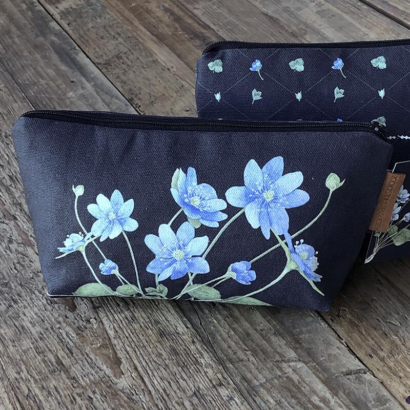 COSMETIC BAG - Blue anemone (with bottom) - CURRENTLY OUT OF STOCK