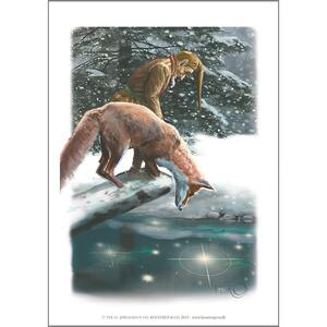 ART PRINT A4 - Fox and Santa