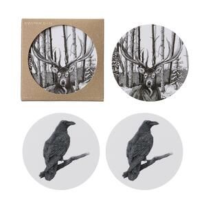COASTERS - Stag / Odin's raven - 4 pack