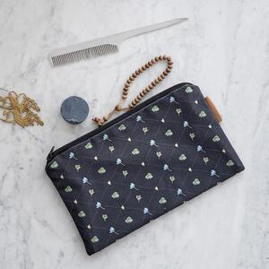 COSMETIC BAG - Blue Anemone pattern (flat)