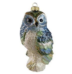 GLASS OWL - blue/green