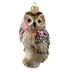 GLASS OWL - rose/bordeaux