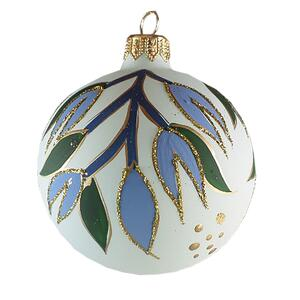 GLASS ORNAMENT - Misteltoe (blue/green)