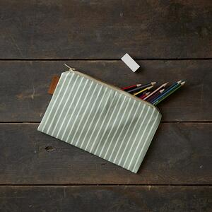 COSMETIC BAG - Green stripes (flat)